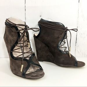 6d4e73214bf9 Brown   Black Suede Lace Up Wedge Heels